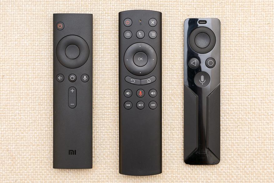 cлева направо: пульт от Xiaomi Mi Box (MDZ-16-AB), G20s, пульт от Nvidia Shield TV (P2930)
