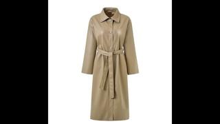 Винтажная экстра длинная кожаная куртка для женщин 2021 новая мода весна осень зима тонкий pu кожаный плащ с поясом женский