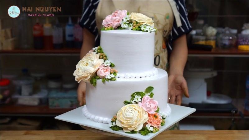 HOW TO TIER BEAUTIFUL FLOWERS CAKE Cách Xếp Bánh Hoa Hai Tầng Đẹp Với Hoa Kem Tươi