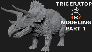 MODELING TRICERATOPS DINOSAUR TUTORIAL IN ZBRUSH 4R7 - PART 1