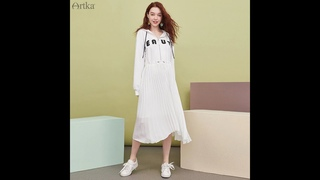 Artka 2021 осенние новые женские платья модные с буквенным принтом толстовки платье с регулируемой талией шифоновое