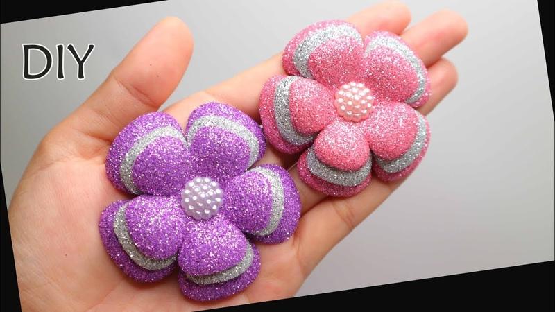 DIY - How to make Glitter Foam Flower Eva foam | Cara membuat bunga spon glitter | Busa hati