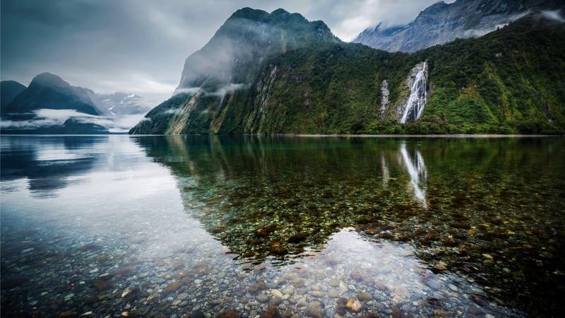 Картинка горы Озеро камни дно горы Новая Зеландия Bild berg Sjö stenar botten Nya Zeeland