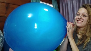 Looner Girl Blowing Up BIG Blue Balloon | Huge Balloons No Pop Non-Popper