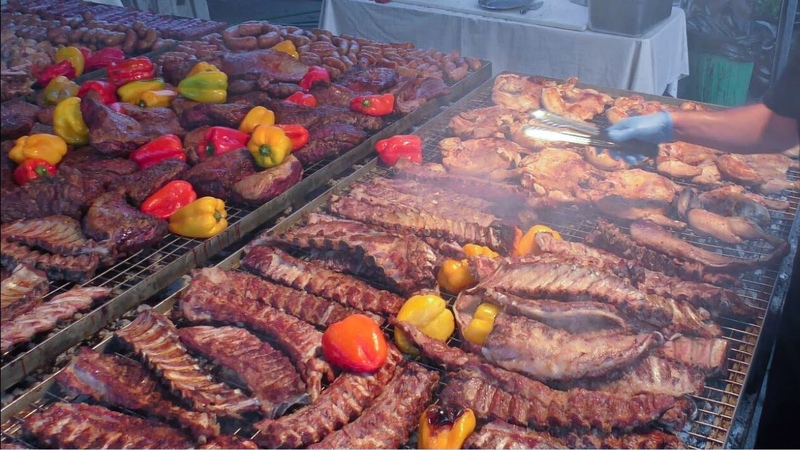 Italy Street Food Grilling Massive Amount of Meat Ribs Sausages Skewers Burgers and more