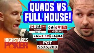 Gus Hansen Hits Quads Against Daniel Negreanu | High Stakes Poker