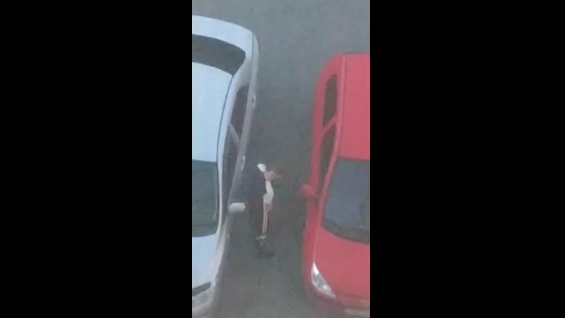 в Кургане мужик пописал на машину