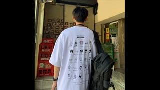 Мужская футболка в стиле хип хоп с принтом в корейском стиле, хлопковые топы свободного кроя, уличная мода, футболки для