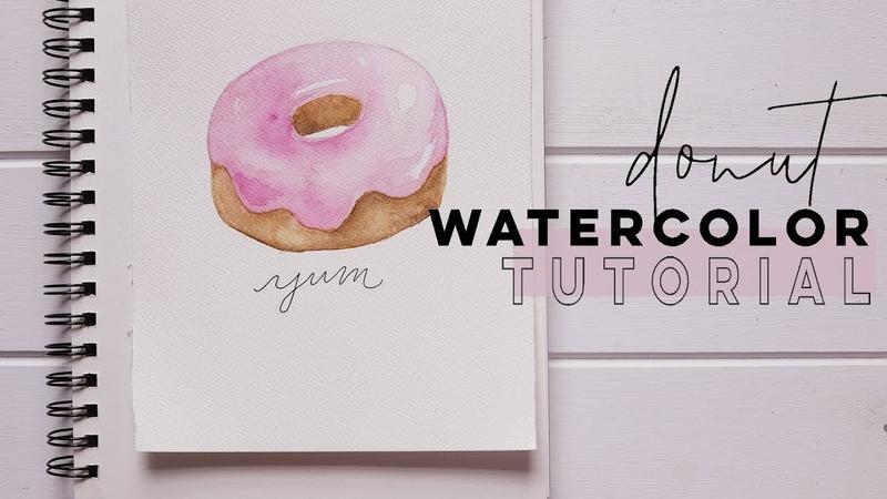 Cute Donut Painting Beginner Watercolor Tutorial