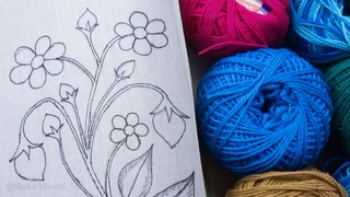 Exclusive decorative hand made embroidery sewing work on voile fabrics with crochet thread