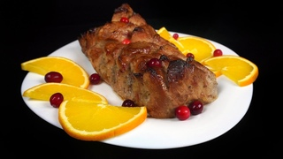 Свиная корейка в Апельсина Клюквенном соусе.  Божественное блюдо к Новогоднему столу!!!