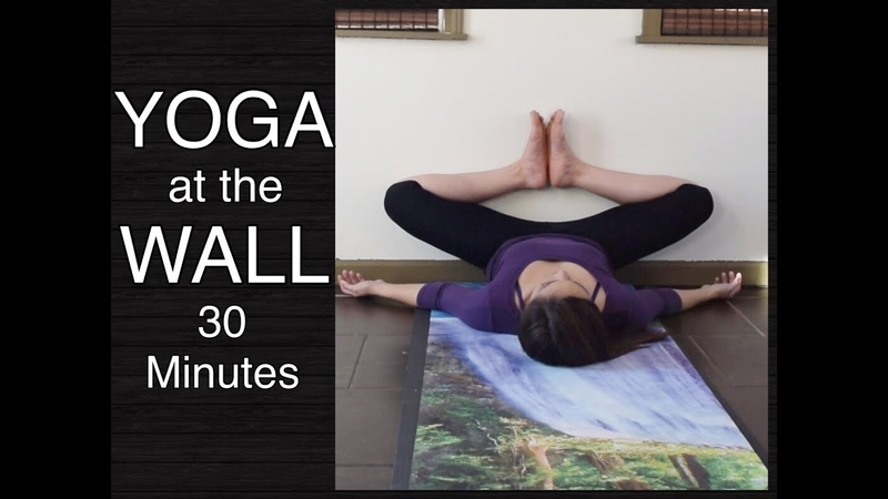 Gentle Yoga at the Wall Stretches for Lower Back Hamstrings Hips Inner Thighs 30 Minutes