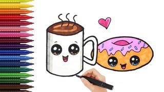 Как нарисовать КОФЕ С ПОНЧИКОМ / КАВАЙНЫЕ РИСУНКИ /Мультик раскраска | How to draw COFFEE WITH DONUT