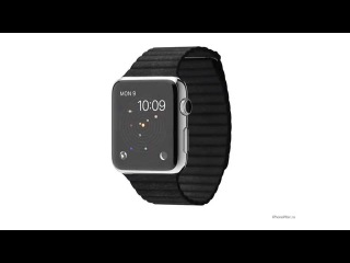 Apple Watch Stainless Steel Case with Black Leather Loop