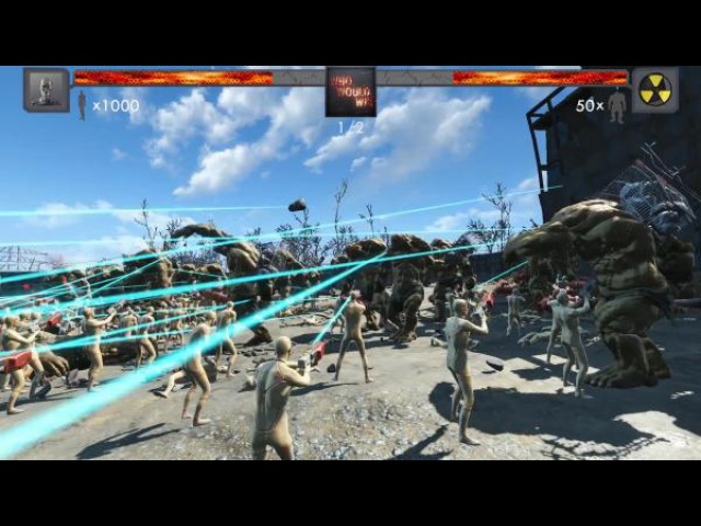 Fallout 4 1000 Синтетиков vs 50 Супермутант-бегемотов