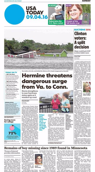 USA Today  September 04 2016