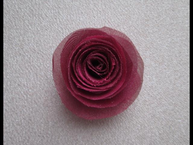 Роза из ткани своими руками Украшения цветы для скрапбукинга Мастер класс