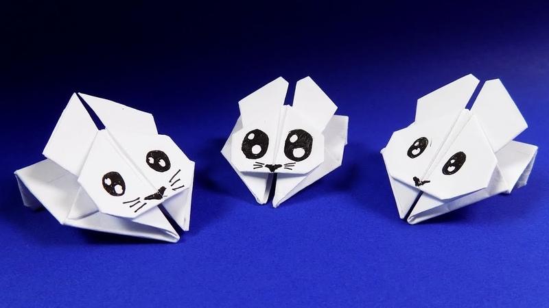 Оригами кролик из бумаги. Оригами игрушка кролик ПОПРЫГУН. origami rabbit