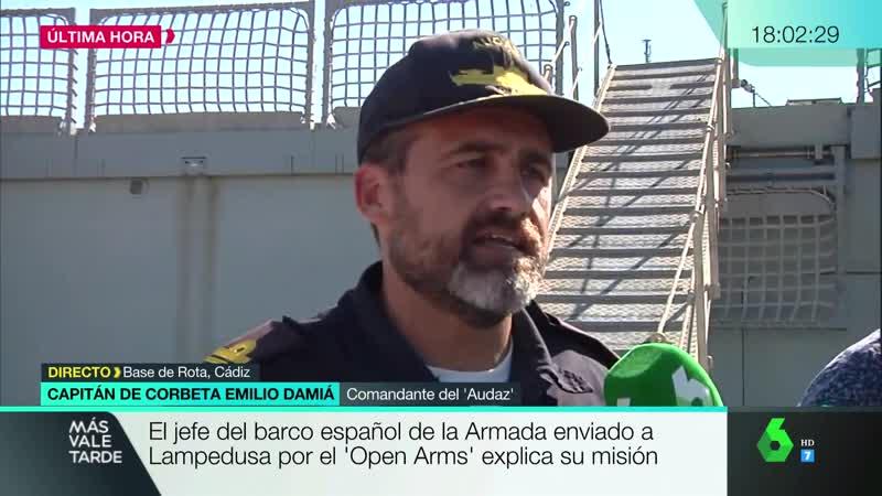 Emilio Damia (comandante buque Audaz) solo sabe que tiene que ir a Lampedusa Más Vale Tarde vlc 2019-08-20 18h02m La Sexta FHD
