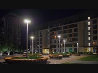 Подсветка в кварталах Брусники в Тюмени