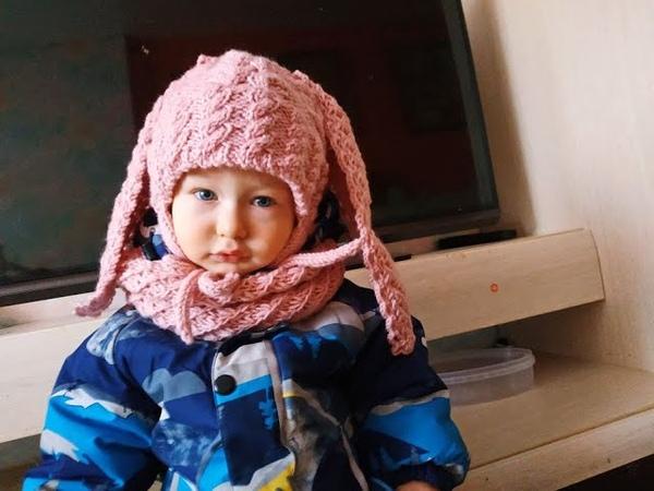 Вязание шапочки с ушками зайца в комплекте со снудом. Часть 2.Knitting of a hat with ears of snudy.