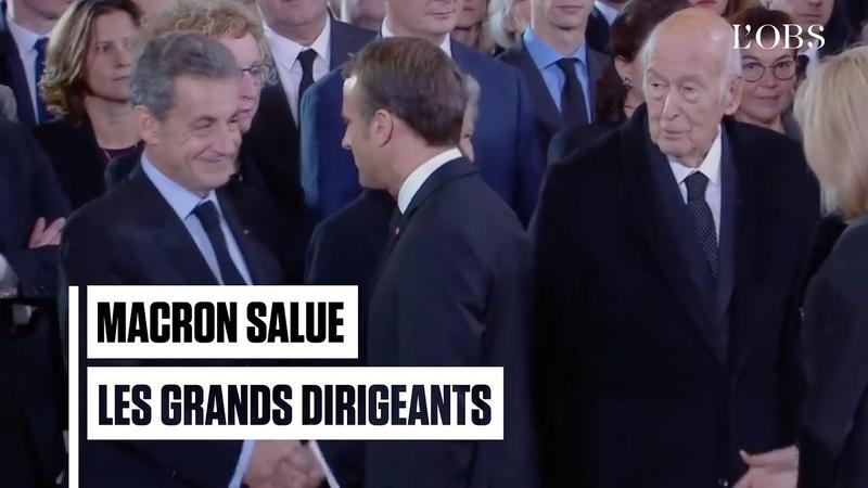Sarkozy Hollande Poutine Giscard Macron salue les grands dirigeants à Saint Sulpice