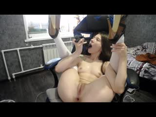 Kamastetica cute girl fucks herself with a big black dildo in a bear costume
