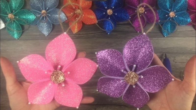 DIY How to make Christmas tree flower ornaments