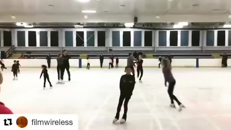 Our better halves 🤣⛸🤫 some rehearsals behind our doubles of one of our routines from yesterday