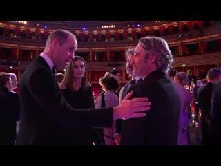 The duke and duchess of cambridge congratulate bafta winners at royal albert hall