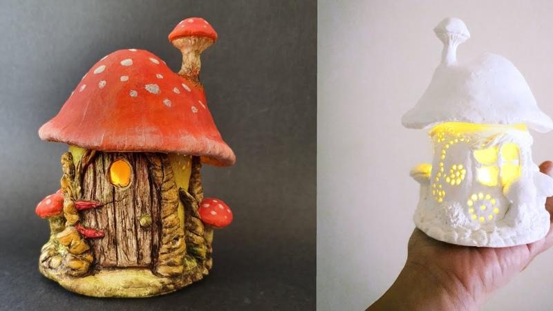 Easy Toadstool Mushroom Fairy House Jar DIY Lantern Craft Idea Air Dry Clay Tutorial 1