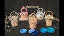 DIY Making Basket with Plastic Bottles Cap and Matches Wedding Favors Mavi Kapaklardan Sepet Yapımı