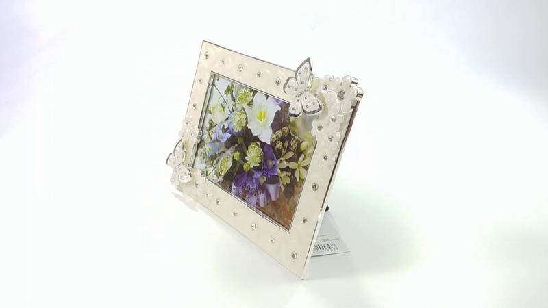 Фоторамка Platinum Бабочки и цветы, со стразами, PF10645, белый, 10 х 15 см