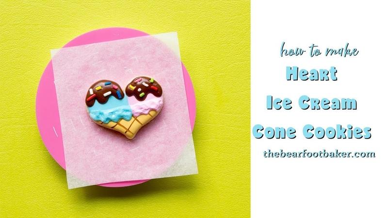 How to Make Heart Ice Cream Cone Cookies | The Bearfoot Baker