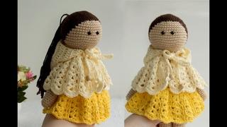 Красивая, ажурная НАКИДКА крючком! Вязаная одежда для куклы!