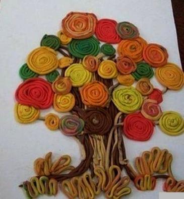 Дерево осень из пластилина Такую поделку осеннего дерево на листе бумаги можно сделать с детьми младшего школьного возраста из пластилина.Все элементы дерева делаются из тоненьких длинных
