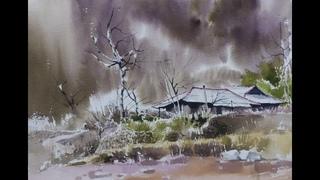 choeSSi art studio/how to draw a landscape of autumn scenery/水彩畵 風景畵 /최병화수채화(고향풍경)