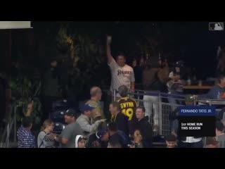 Get @tatis_jr that baseball! - - His first career dinger was crushed.