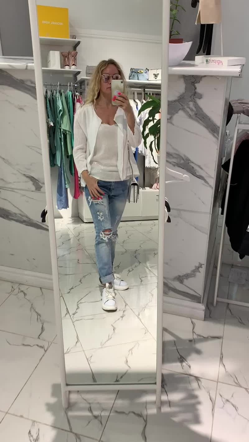 кардиган  лен короткий белый, майка, джинсы рвань