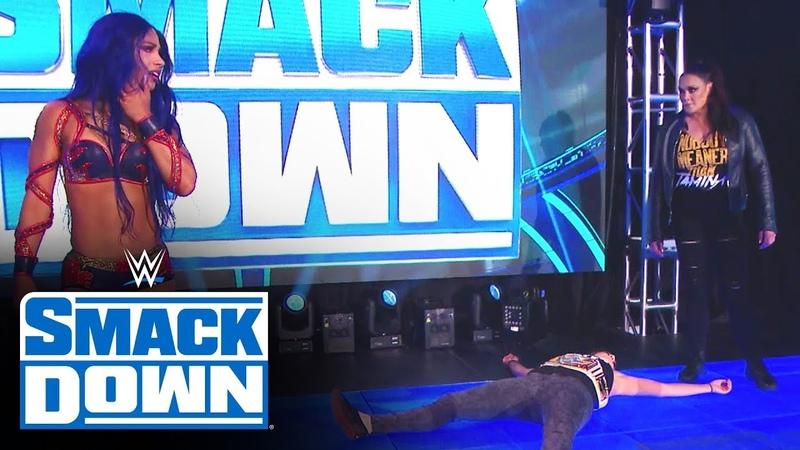 SBMKV Video Tamina seizes opportunity to blindside Bayley SmackDown April 24 2020