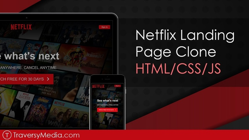 Build a Netflix Landing Page Clone with HTML, CSS JS