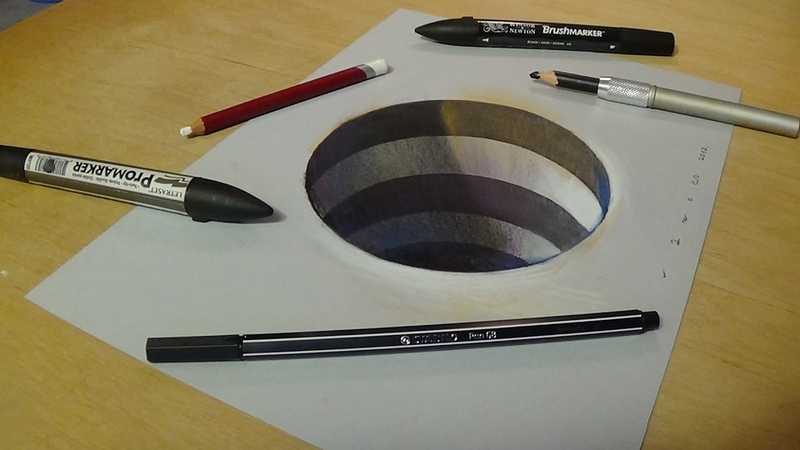 How to Draw 3D Circular Hole Trick Art on Paper