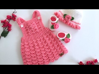 🌸🌿Tığ işi Salopet Elbise /Karnabahar Modelli Elbise/Askılı Bebek Elbise/0-1 yaş/dress