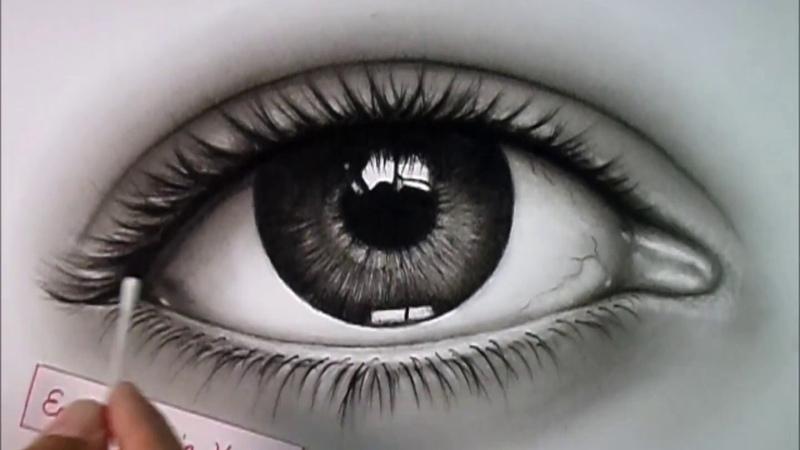 Karakalem göz çizimi. Eye pencil drawing