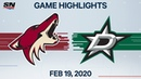 NHL Highlights Coyotes vs Stars Feb 19 2020