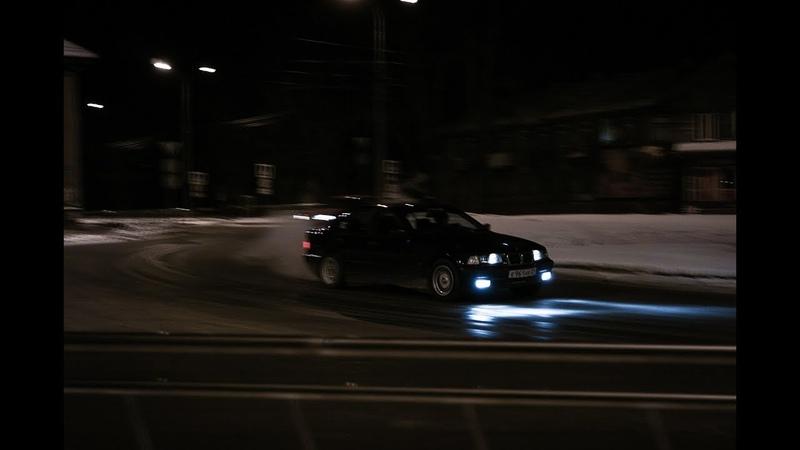 Скользим по дорогам Северодвинска на стоковой BMW E36