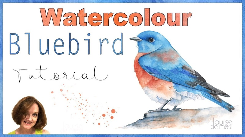 Bluebird Watercolor Tutorial How to paint a bird in watercolour