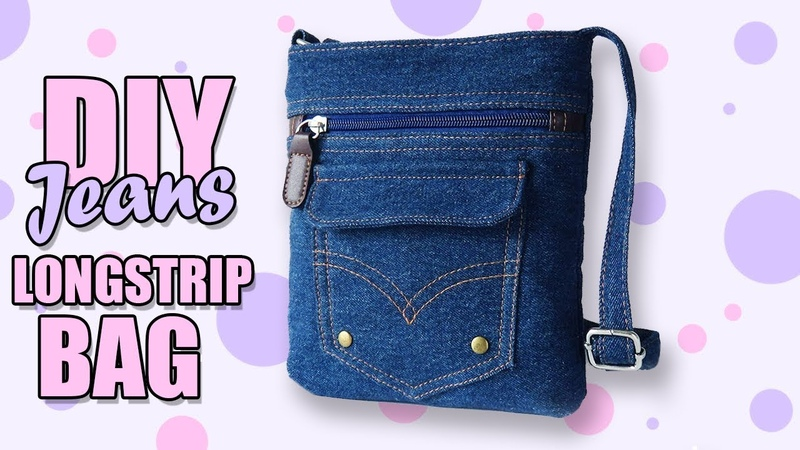 DIY JEANS CROSSBODY BAG FAST RECYCLE PANTS Lovely Woman Purse From Old Jeans