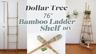 Bamboo Ladder Shelf DIY / Room Shelf DIY  / Dollar Tree Furniture DIY