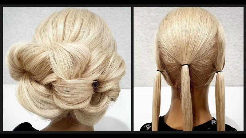 Быстрая Объемная вечерня прическа из резинок Пошагово Fast Volumetric Vespers hairdo Step by step